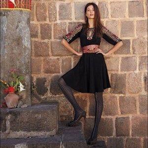 Anthropologie black midi dress floral sleeves
